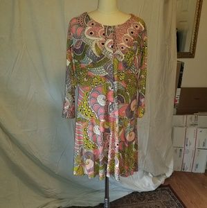Fabulous homemade psychedelic print 60s dress